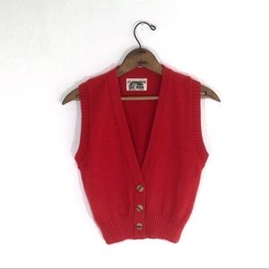 Vintage Red Knit Mini Vest Made in USA